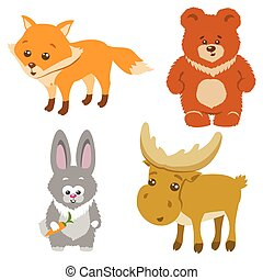Cute Forest Animals Cartoon Style. Vector Illustration