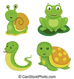 Reptiles And Amphibians Decorative Set in cartoon style isolated vector illustration