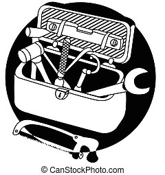 toolbox black icon - Vector illustration of a toolbox black...