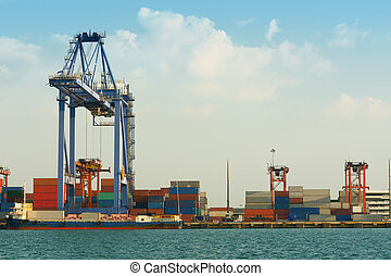 Cargo ship container at port terminal.