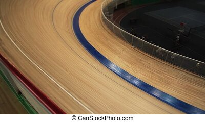 Cycle race on the track motion blur - Cycle race tracking...