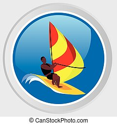windsurfing - Vector icon Images an athlete on the board...