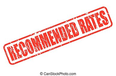 RECOMMENDED RATES red stamp text on white