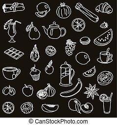 foodstuffs. fruit. vegetables. food. set of vector sketches...