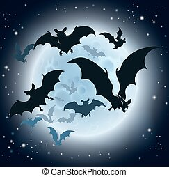 Bats and Full Moon Halloween Background