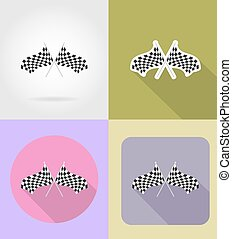 checkered flags for car racing flat icons vector...