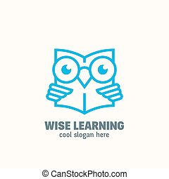 Line Style Smart Education Abstract Vector Logo Template. Learning Emblem. Outline Wise Owl Reading Book Concept with Typography.