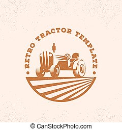 Retro Tractor Silhouette Vector Logo or Emblem Template....