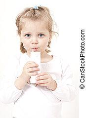 Blond little girl drinking straw
