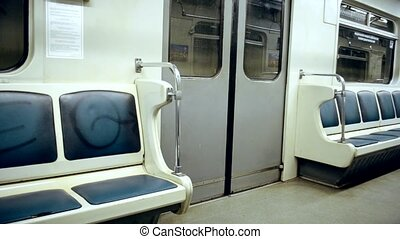 Subway, empty carriage of train with no people