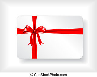 Gift card with ribbon - Christmas gift card design with red...