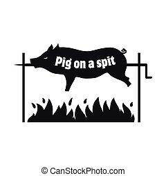 Grilled pig. Pig on spit. Roasting piglet. BBQ pork. Icon. -...