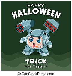 Vintage Halloween poster design with vector robot character.