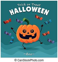 Vintage Halloween poster design with vector pumpkin...