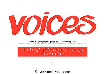 voices - set of script alphabet letters and numbers isolated...