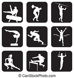 atletic sport icons - set of vector icons. Athletic sports...