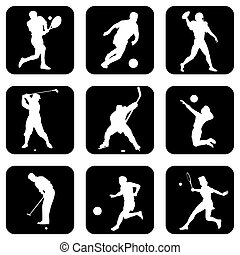 ball sport icons - set of vector icons. Sports games with...