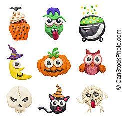 Colorful Halloween elements - A big set of colorful clay...