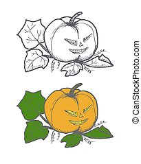Hand drawn doodle Halloween pampkin. Black pen objects and color drawing. Design illustration for poster, flyer .