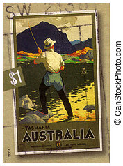 circa 2007 : an Australian postal stamp cancelled depicting...