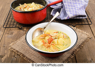 cullen skink, typical scottish food with smoked haddock in a...