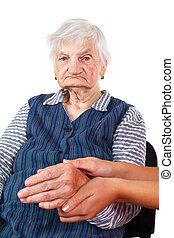 Elderly care - Picture of an old woman with her caregiver