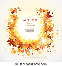 Maple leaves frame with space for text