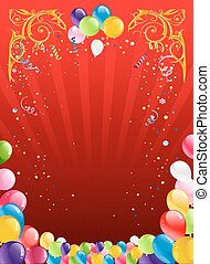 Red holiday background with balloons