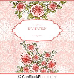 Wedding vintage background with roses