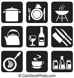 kitchenware icons - set of vector silhouettes of icons on...