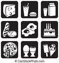 food icons - set of vector silhouettes of icons on the food...