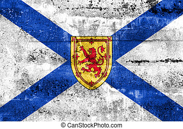Flag of Nova Scotia Province, Canada, painted on dirty wall