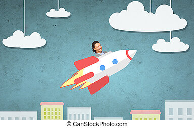 businesswoman flying on rocket above cartoon city -...