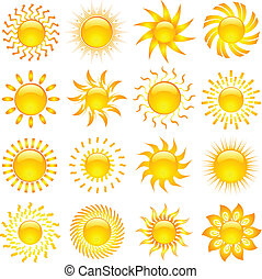 Sun icons - Large collection of various designs of sun icons
