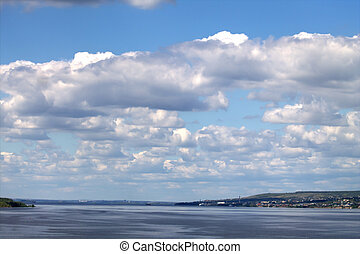 Volga - Great Russian Volga river on the background of the...