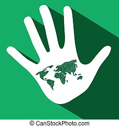 Palm Hand with World Map on Green Background Vector
