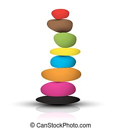 Colorful Zen Stones - Pebbles Heap Isolated on White Background Vector Illustration
