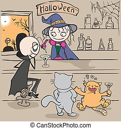 Halloween Party Witch bartender pours vampire cocktail...