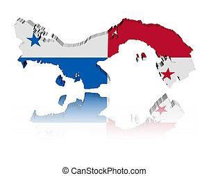 Panama map flag with reflection - Panama map flag 3d render...