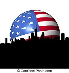 Chicago Skyline with American flag sphere illustration