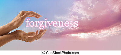 Forgiveness on Pink Sky - Female hands gently cupped around...