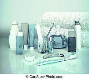 Set for morning hygiene. Toothpaste, brush, soap, balm,...