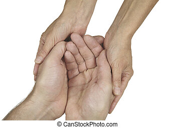 Compassionate Carer - Woman's hands gently holding a man's...