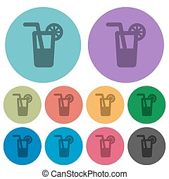 Color longdrink flat icons - Color longdrink flat icon set...