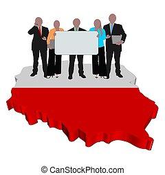 business team on Poland map flag