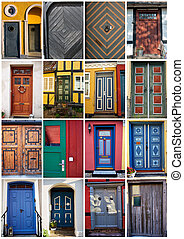Collage of traditional front doors Denmark