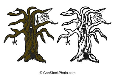 Hand drawn doodle Halloween tree. Black pen objects and color drawing. Design illustration for poster, flyer .