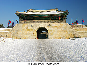 Korean Fortress Gate - East Gate on Hwaseong Fortress,...