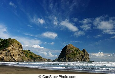 West Coast Beach - Piha Beach on the west coast near...