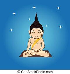 Gautama Buddha Doing Meditation Vector Illustration